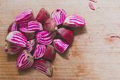 picture of beet  - Chopped candy cane beets  - JPG