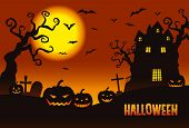 picture of mansion  - Halloween illustration pumpkins and a haunted mansion in the twilight - JPG