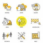 stock photo of construction crane  - Construction vector icons set - JPG