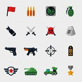 stock photo of bomb  - Military and war icons flat set - JPG