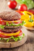 image of tomato sandwich  - healthy sandwich with salami tomato pepper and lettuce - JPG