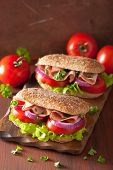 picture of tomato sandwich  - sandwich with ham tomato and lettuce - JPG