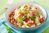 foto of chive  - healthy quinoa salad with tomato cucumber onion chives - JPG