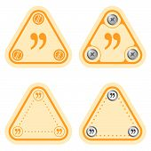 stock photo of quotation mark  - Set of four flat simple frames and quotation mark - JPG