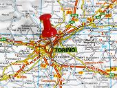 stock photo of torino  - map with pin point of torino in italy  - JPG