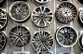 stock photo of alloy  - Various alloy wheels in store  - JPG
