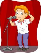 stock photo of microphone  - Illustration of an Anxious Boy Standing Behind a Microphone - JPG