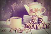 picture of bagel  - Russian Vintage tea composition with enamelware  - JPG
