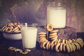 picture of bagel  - Breakfast in the retro rustic style - JPG