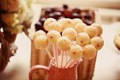 pic of cake pop  - Capture of delicious White cake pops on table - JPG