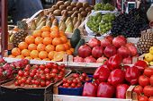 picture of stall  - Large market stall full with fresh organic fruits and vegetables - JPG