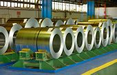 picture of coil  - Coiled steel sheets inside of steel plant - JPG