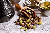 picture of cardamom  - Coffee beans and cardamom on burlap - JPG