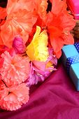 stock photo of mulberry  - Sweet color flowers from mulberry paper whith holiday gift box - JPG