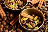 foto of cardamom  - Coffee beans star anise cardamom and cinnamon on burlap - JPG