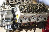 picture of rebuilt  - Macro view of new rebuilt truck engine shallow DOF - JPG
