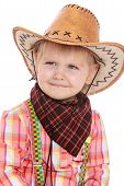 picture of baby cowboy  - Smiling little girl in cowboy costume  - JPG