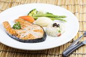 image of salmon steak  - Grilled Salmon steak with Vegetables and Fried Rice - JPG