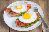 pic of tomato sandwich  - Open face sandwich with egg bacon tomato and lettuce - JPG