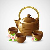 stock photo of teapot  - Teapot and cups - JPG