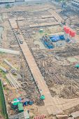 image of land development  - Top view of building construction site preparing the land - JPG