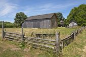 foto of log fence  - Old country barn fences and trees Willamette valley Oregon - JPG