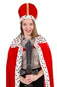 foto of woman red blouse  - Pretty woman wearing crown and red coat isolated on white - JPG