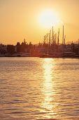 stock photo of marina  - Bodrum marina at sunset Turkey Beautiful soft colors - JPG