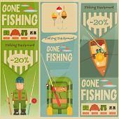 picture of fishermen  - Fishing Mini Vertical Posters Set - JPG
