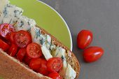 image of plum tomato  - Wholemeal Sub Roll with Blue Cheese and Ripe Cherry Tomatoes - JPG