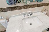 stock photo of bathroom sink  - Modern elegant sink in bathroom - JPG