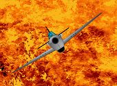 image of fighter plane  - A fighter plane climbing out of the flames - JPG