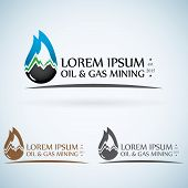 picture of drop oil  - OIl gas company vector logo design template color set - JPG