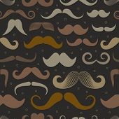 picture of moustache  - Different retro style moustache seamless pattern - JPG