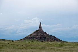 stock photo of western nebraska  - Chimney Rock in western Nebraska was an important landmark along the historic Oregon Trail - JPG