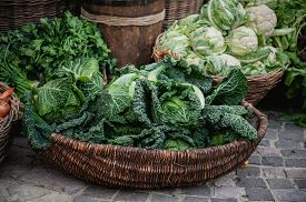foto of romanesco  - Basket with various cabbages Savoy romanesco cauliflower white head broccoli brussels sprouts Chinese sold at market - JPG