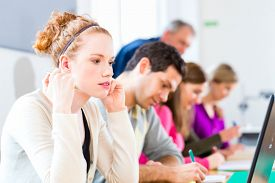 picture of professor  - University college students having examination - JPG