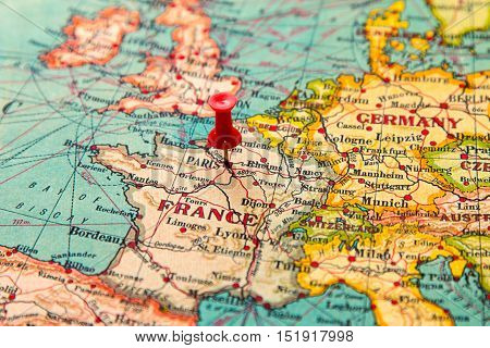 Paris On Europe Map.Paris France Pinned On Vintage Map Of Europe Poster Id 151917998