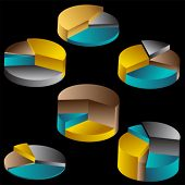 Tiered Metal Pie Chart Set Color : Group of metal pie charts rising up at different levels on a black background.