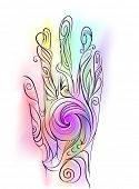 Trippy Illustration of a Hand Decorated with Colorful Swirls Demonstrating the Flow of Energy in the poster