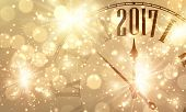 2017 New Year shining banner with clock. Vector illustration. poster
