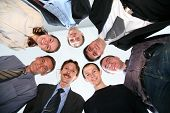 pic of human resource management  - Circle friends men and the woman look downwards - JPG