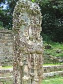 Maya Deus Stone Statue With Some Coloured Paint, Copan, Honduras