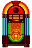 stock photo of jukebox  - Retro jukebox music and dance player on white background - JPG