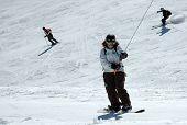 Snowboarding Girl On Lift