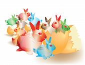Colorful abstract Easter bunnies