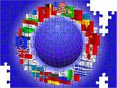 Mundo en forma de un rompecabezas