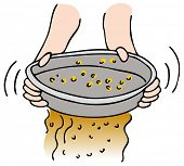 stock photo of gold panning  - An image of a person panning for gold - JPG