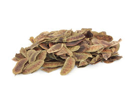 pic of laxatives  - Senna pods in a heap over white background - JPG