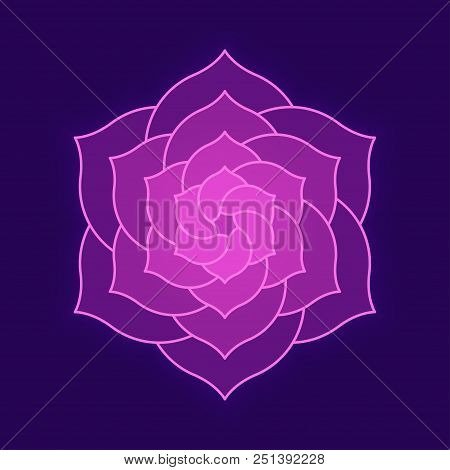 Abstract Lotus Flower Illustration On Dark Background Geometric